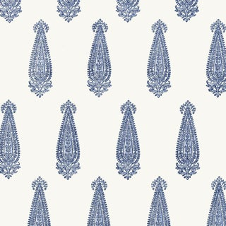 Sample - Schumacher Katara Paisley Wallpaper in Delft For Sale