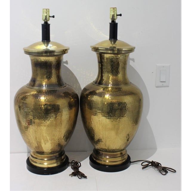 Mid-Century Table Lamps Made From Artisan Hammered Brass Vases - a Pair For Sale - Image 4 of 13