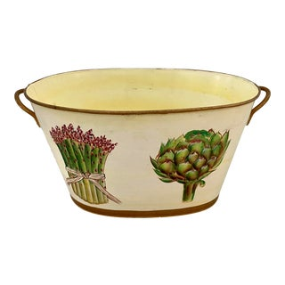 Tole Cachepot With Asparagus and Artichoke For Sale