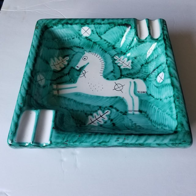 Cantagalli Cantagalli 1950s Turquoise Midcentury Horse Ashtray For Sale - Image 4 of 6