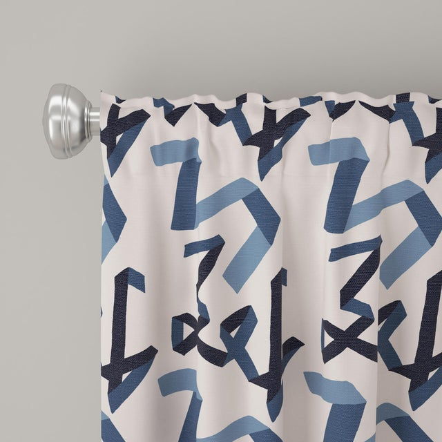 "Angela Chrusciaki Blehm 108"" Curtain in Navy Ribbon by Angela Chrusciaki Blehm for Chairish For Sale - Image 4 of 6"
