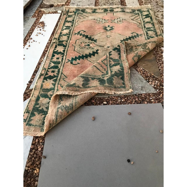 """Pink Hand Made Vintage Tribal Turkish Runner Rug With Greens and Peach 2'9""""x4'2"""" For Sale - Image 8 of 10"""
