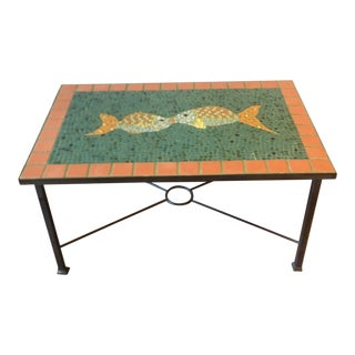 Terra Cotta Mosaic Tile Table on Iron Base For Sale