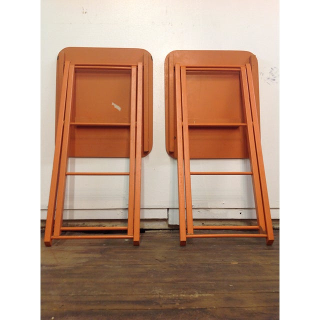 Orange Mid Century Collapsible Side Tables - Pair - Image 9 of 11