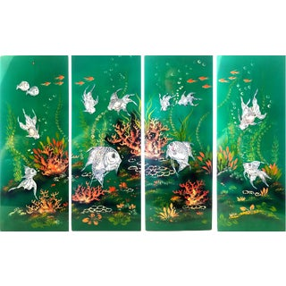 Vintage Mid-Century Green Lacquer Hand-Painted Mother of Pearl Inlay Koi Fish Wall Plaques - Set of 4 For Sale