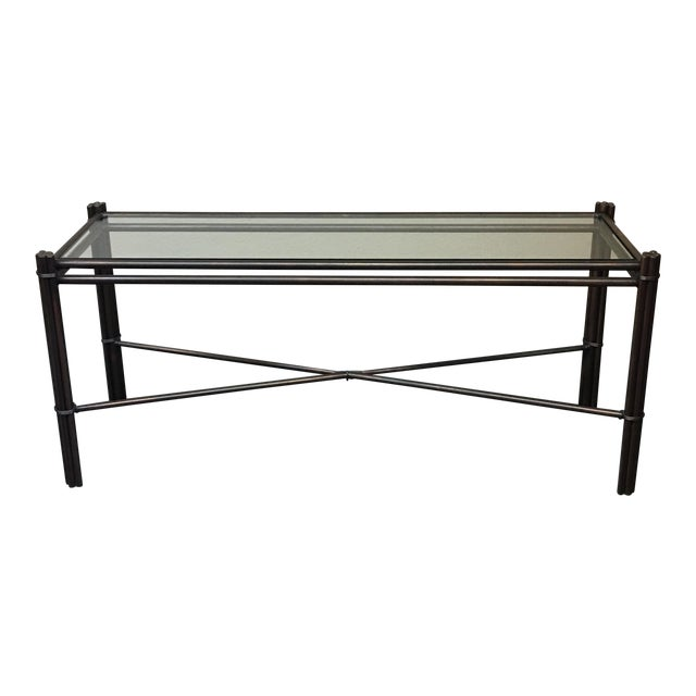 Kolkka Glass Top Iron Console Table For Sale