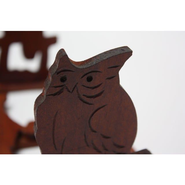 Mid-20th Century Carved Owl Pop-Up Bookrack / Bookends For Sale - Image 9 of 12