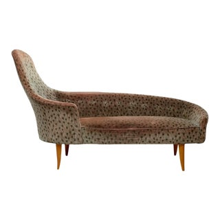 Kerstin Horlin-Holmquist Lustgarden (Garden of Eden) Chaise Longue in Original Peacock Velvet, Sweden, 1950s For Sale