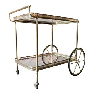 Mid Century Hollywood Regency Brass And Glass Rolling Bar Cart