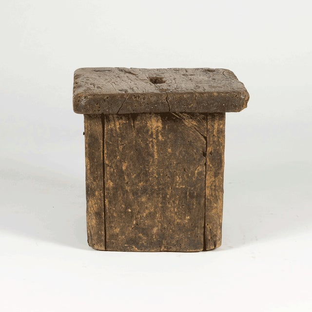Small Rustic Square Oak Stool With Pierced Top, English Circa 1800. For Sale - Image 11 of 13