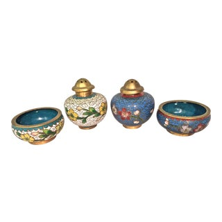 Vintage Enameled Salt Dish and Pepper Shaker Sets - Set of 4 For Sale