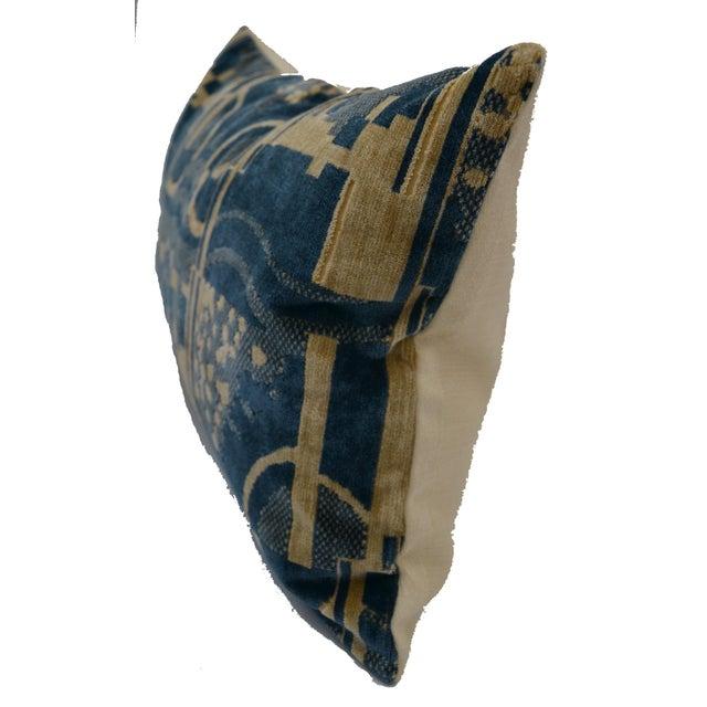 Scalamandre Luigi Bevilacqua of Milan Blue Art Deco Velvet Lumbar Pillows - a Pair For Sale - Image 4 of 12