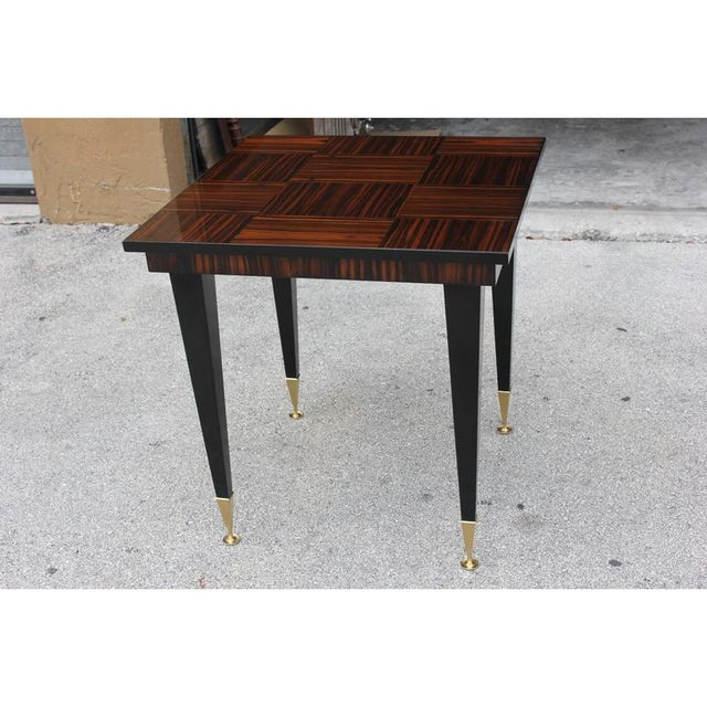 1940s Vintage French Art Deco Macassar Ebony Game Table For Sale - Image 4 of 11