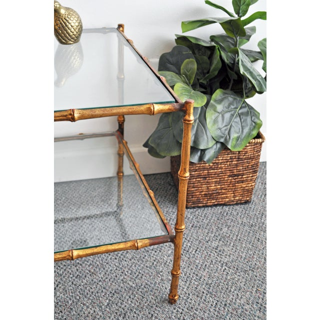 Vintage Italian Gold Gilt Faux Bamboo Table - Image 10 of 11