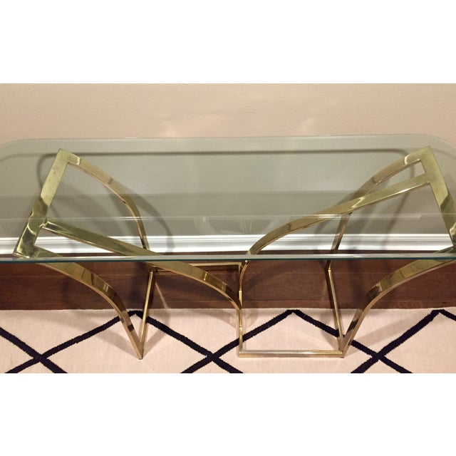 Vintage 1970s Brass & Glass Console Table - Image 4 of 9