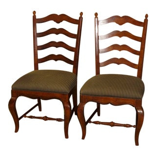 Pair of Vintage Hickory White Country French Ladder Back Chairs For Sale