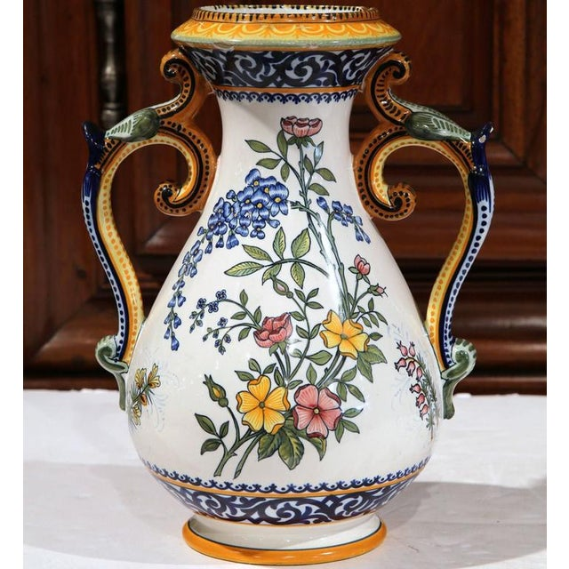 henriot quimper 19th century french hand painted faience vase chairish. Black Bedroom Furniture Sets. Home Design Ideas