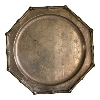 Antique Cherry Blossom Bamboo Design Silver Tray For Sale