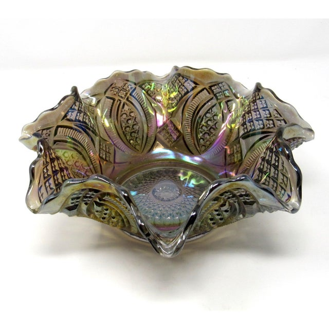 Mid-Century Modern Antique Imperial Smoke Diamond Ring Carnival Glass Bowl For Sale - Image 3 of 8