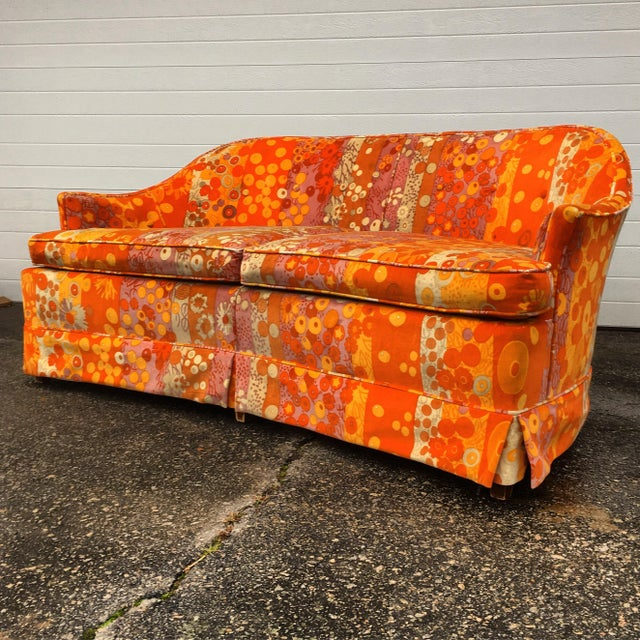 dorothy draper sofa in jack lenor larsen velvet chairish. Black Bedroom Furniture Sets. Home Design Ideas