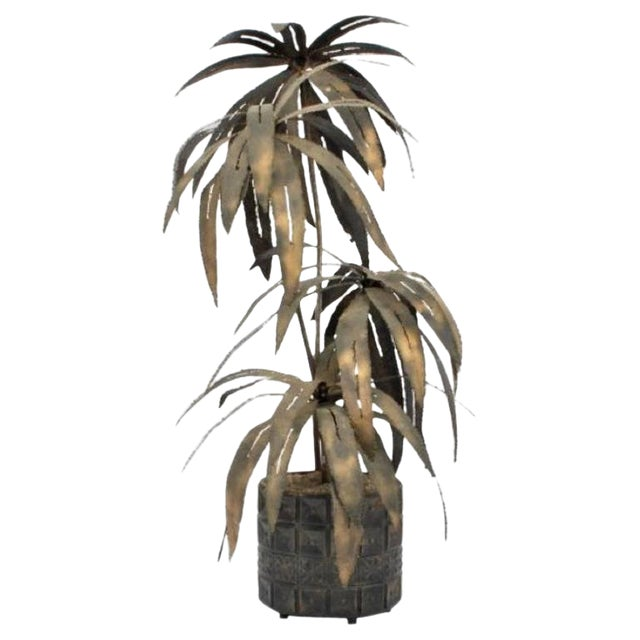 Illuminated Brutalist Palm Tree Sculpture in Paul Evans Style Pot, Circa 1970 For Sale