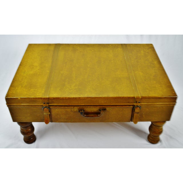 Vintage Faux Leather Suitcase Trunk Coffee Table For Sale - Image 4 of 13