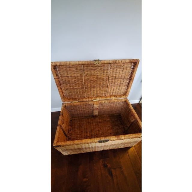 Vintage Wicker Rattan Trunk For Sale - Image 9 of 13