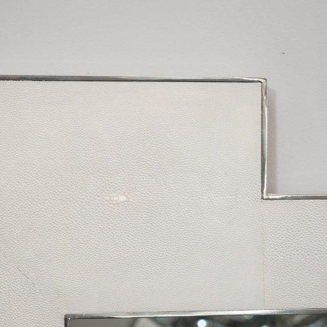Modern Custom Square Shagreen Mirror with Square Edges For Sale - Image 3 of 5
