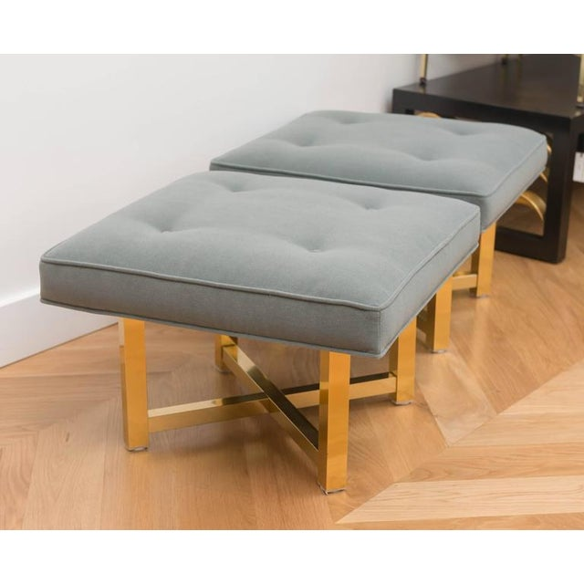 Mid-Century Modern Low Brass Base Ottomans - A Pair For Sale - Image 3 of 6