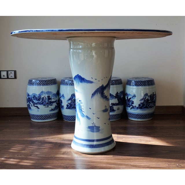 Blue and White Floral Motif Chinese Porcelain Garden Seats & Table - Set of 5 For Sale - Image 13 of 14