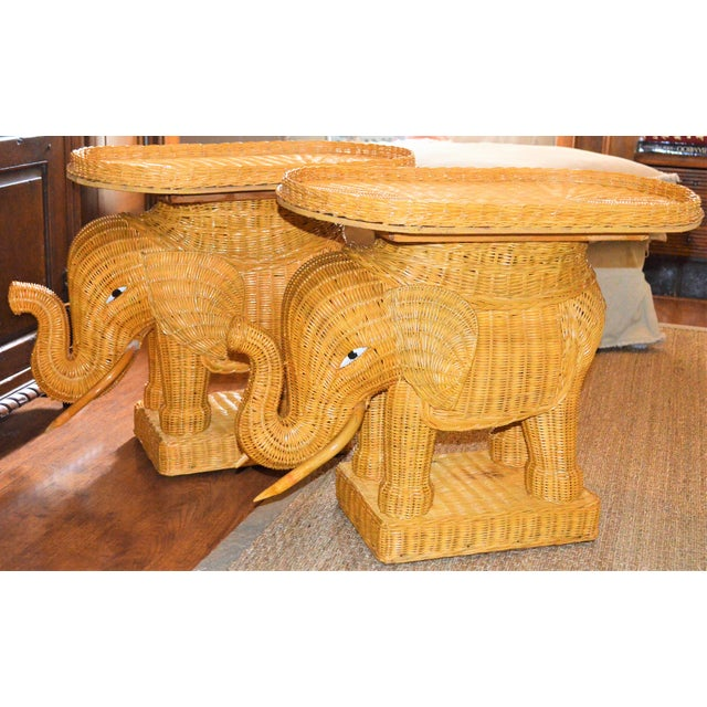 1990s Boho Chic Wicker Rattan Elephant Tray Tables - a Pair For Sale - Image 5 of 7