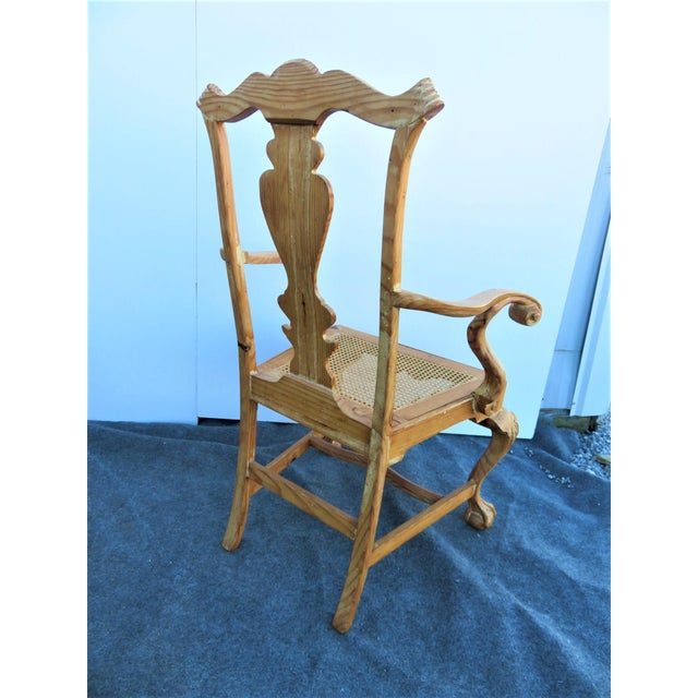 Wood Early 20th Century English Pine Chippendale Carved Arm Chairs - a Pair For Sale - Image 7 of 9