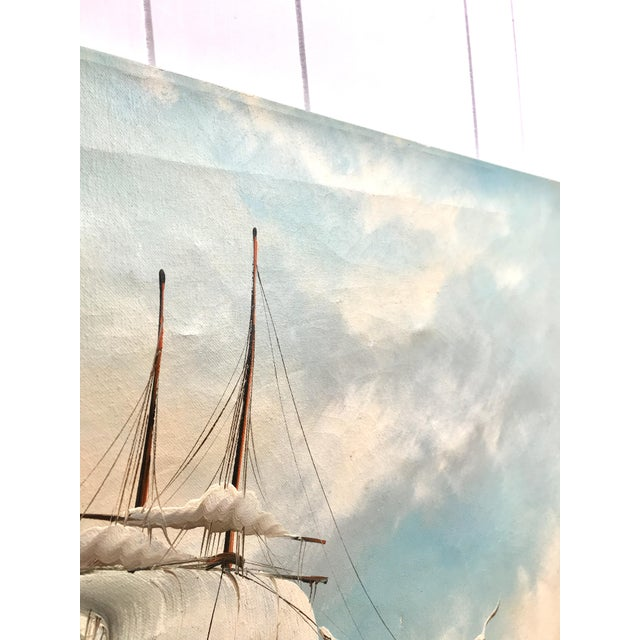 1960s 1960s Vintage Rupert Hydan Colonial Ship on the Sea Oil Painting For Sale - Image 5 of 10