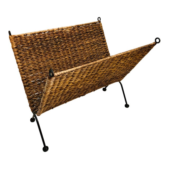Iron and Wicker Magazine Rack Holder Vintage Mid Century Umanoff Style For Sale
