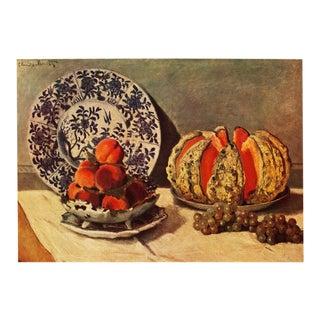 1930s Claude Monet, Rare Original Still Life With Melon Lithograph For Sale