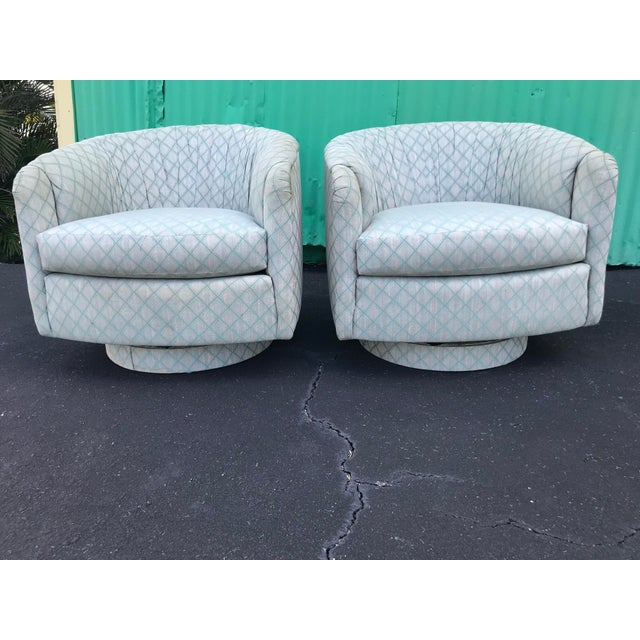 1980s Mid-Century Modern Barrel Swivel Chairs - a Pair For Sale - Image 12 of 12