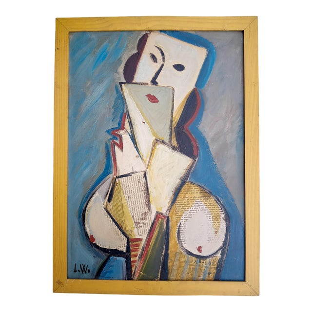 Mid 20th Century Portrait of Cubist Style Abstract Female Mixed-Media Collage, Framed For Sale