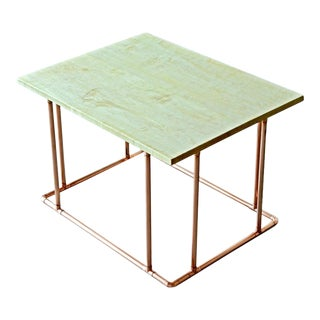 Modern Copper & Maple Coffee Table For Sale