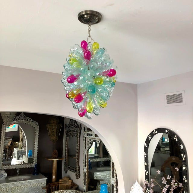 Metal Recycled Handblown Glass Candy Colors Light Fixture For Sale - Image 7 of 12