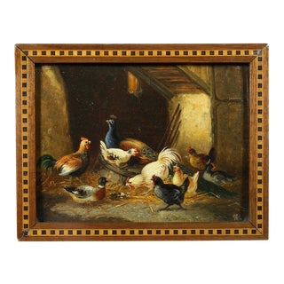 Pair of Small European Oil on Panel Paintings of Chickens