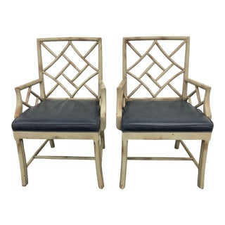 21st Century Vintage Hickory Chair Fretwork Chairs - a Pair For Sale