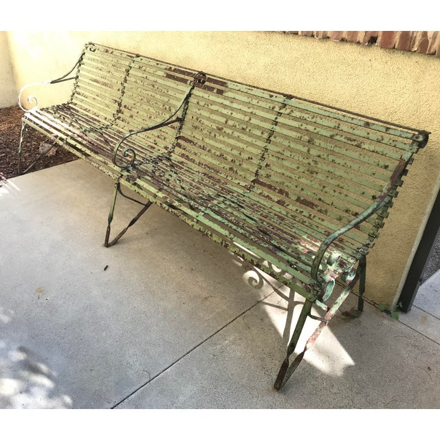 French 19th Century Antique French Wrought Iron Green Garden Park Restaurant Bench For Sale - Image 3 of 13