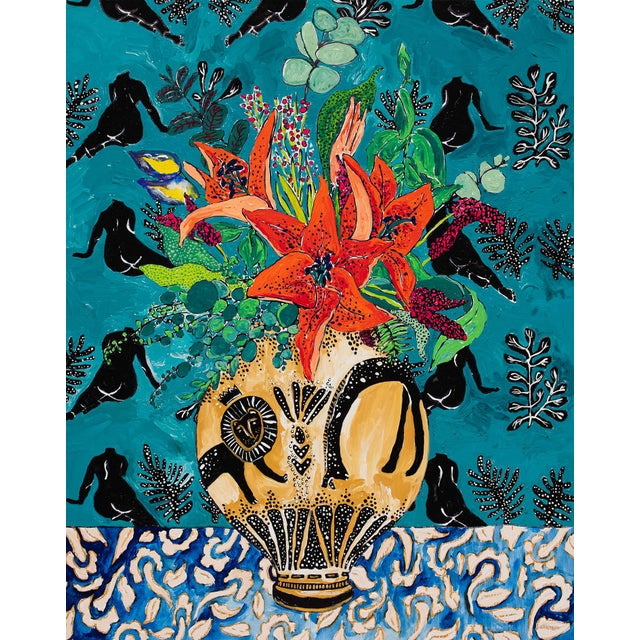 Amphitrite: Orange Lily and Wildflower Bouquet in Lion and Giraffe Urn on Emerald Matisse Inspired Wallpaper For Sale