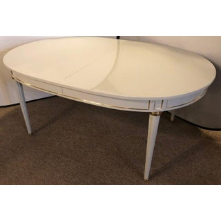 Hollywood Regency Dining Table in Gray Lacquered Bronze Mounted Finish Preview