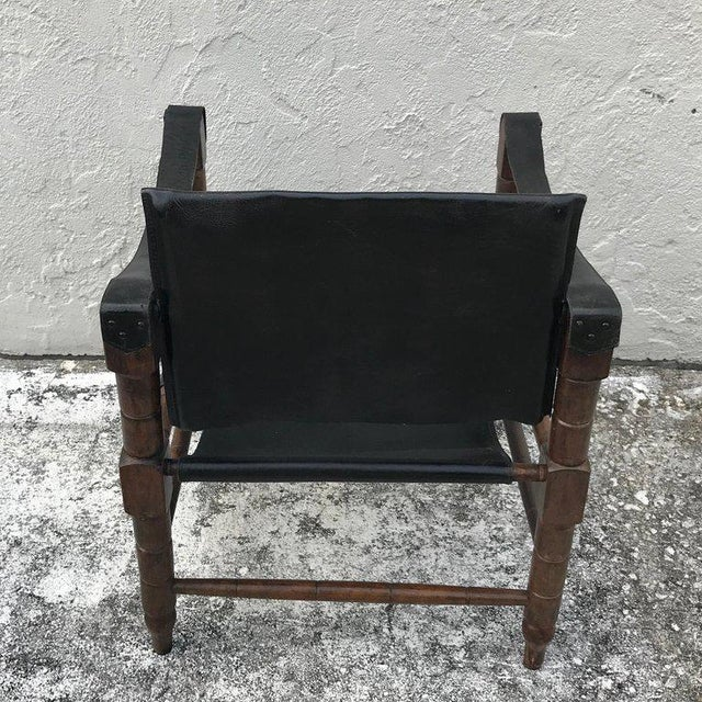 Pair of Syrian Leather Campaign / Safari Chairs For Sale - Image 9 of 12