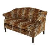 Image of English Victorian Style Leopard Print Velvet Loveseat For Sale