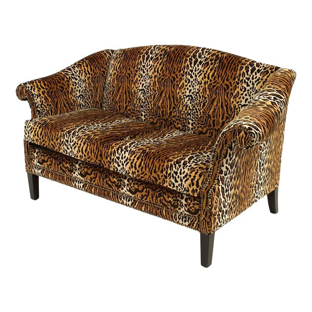 English Victorian Style Leopard Print Velvet Loveseat For Sale
