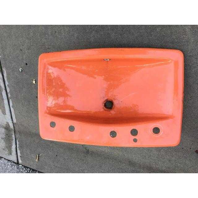 Mid-Century Burnt Orange Cast Iron Sink - Image 4 of 8