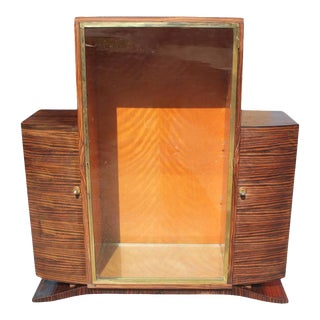 1940s French Art Deco Macassar Ebony Vitrine For Sale