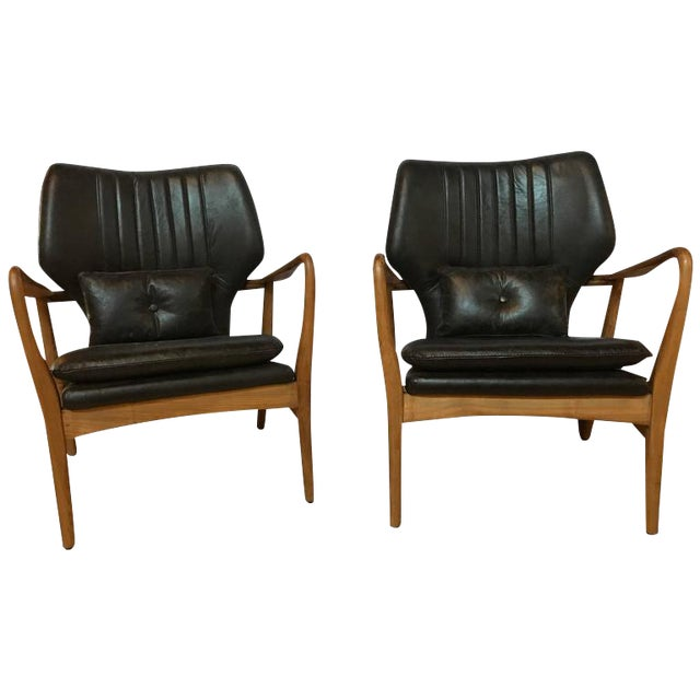 Danish Modern Leather Armchairs - A Pair For Sale - Image 11 of 11